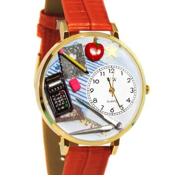 Math Teacher Red Leather And Goldtone Watch