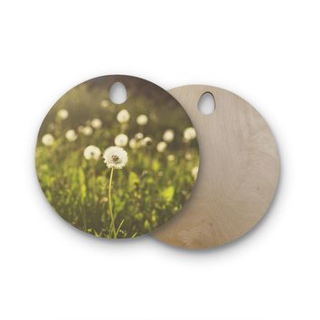"Libertad Leal ""As You Wish"" Dandelions Round Wooden Cutting Board"