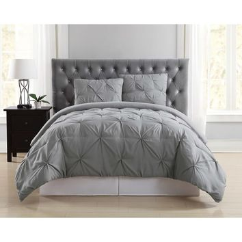 Truly Soft Pinch Pleat Solid 3 Piece Comforter Set | Overstock.com Shopping - The Best Deals on Comforter Sets