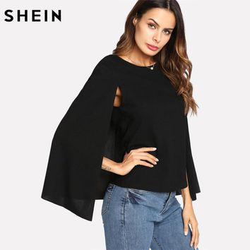 SHEIN Womens Tops and Blouses Ladies Black Keyhole Back Cloak Sleeve Blouse Party Wear Round Neck Regular Fit Women Tops