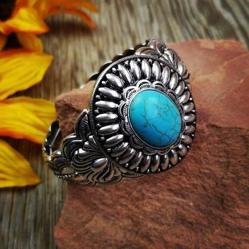 Silver & Turquoise Concho Stretch Bracelet
