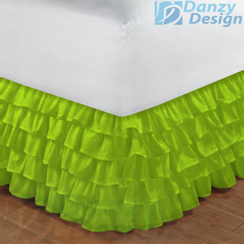 Parrot Green Ruffle Bed Skirt 800TC Egyptian Cotton