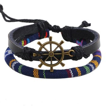 Linnor Homme Bronze Rudder Braclet Gay Pride Rainbow Rope Nautical Cuff for Men Pulseira de Couro Boho Braslet Pirate Jewelry