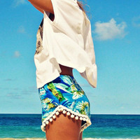 WONDERLANDHNL Pom Pom Shorts Blue Palm - Alohilani Boutique
