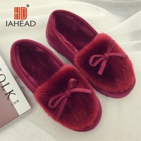IAHEAD Brand Women Winter Shoes Warm Flock Flat Slip On Slippers Shoes for Home use Warm Slippers UPB81-2