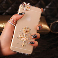 Handmade Dancer case for iphone 6 6s plus white diamond Sparkle cover