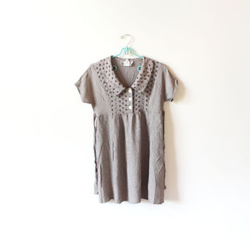 vintage dress 90's grunge clothing babydoll mini brown oversized collar 1990's women's size xs s extra small