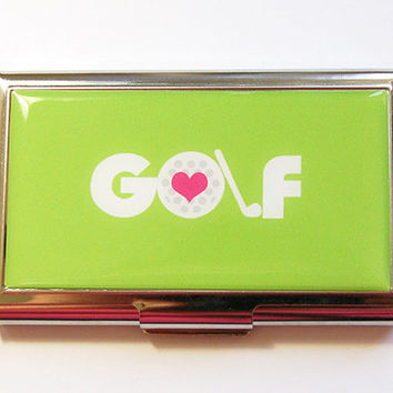 Business card holder, Business Card Case, Card case, Golf, Green case, Green, Card case for her, Golfer, Golf Lover, Gift for her (4332)