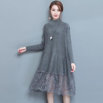 fall and winter new turtle neck long sleeve knit dress lady dresses knitwear lace women plus size loose vestido lady big sweater