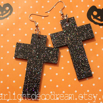IMPERFECT Large Galactic Black Glitter Laser Cut Cross Earrings for Cult Party Kei or Fairy Kei