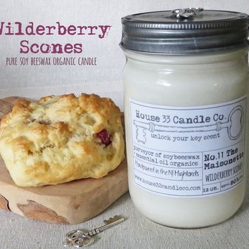 soy beeswax candle, No. 11 The Maisonette, Wilderberry Scones with essential oils, organic in nature, vintage style preserve jar, bakery scent