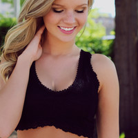 Intimate In Lace Crop Top - Black