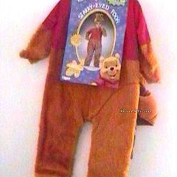 Licensed cool NEW Disney Winnie-the-Pooh Bear Child Halloween Costume with Furry Hood 2-4 T