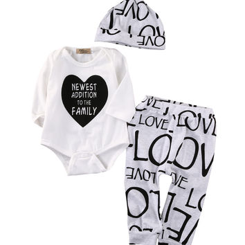 Autumn Spring Newborn Baby Boys Girls Romper Tops Pants Hat Outfits Set Clothes New
