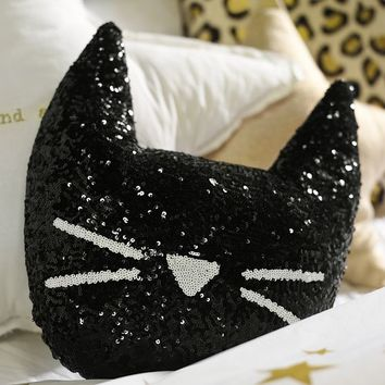 The Emily + Meritt Sequin Cat Pillow