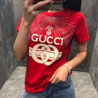Gucci print T-shirt with crystals