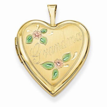 14k Gold 20mm Enamel Flowers Grandma Heart Locket
