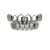 Gun Metal Open Face Grillz Top and Bottom