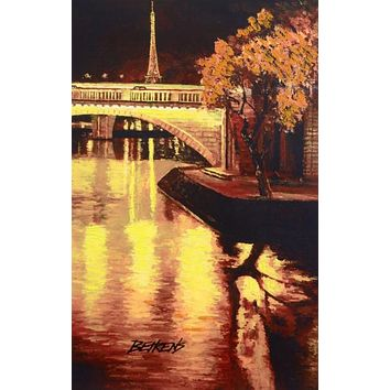 Twilight on the Seine, I - Limited Edition Hand Embellished Giclee on Canvas by Howard Behrens (1933-2014)