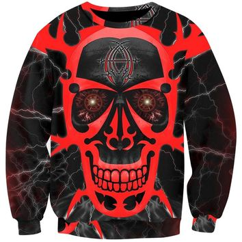 Skull Sweatshirt Men 3D Print Demon Pullover Long Sleeve