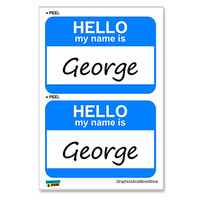 George Hello My Name Is - Sheet of 2 Stickers