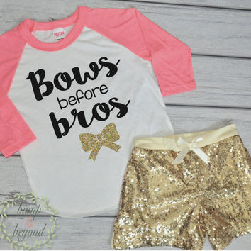 Bows Before Bros Shirt Toddler Raglan Baby Girl Clothes Gold Sequin Shorts Hipster Baby Clothes Girl Gift Toddler Girl Clothing 097