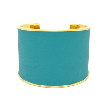Turquoise Leather Bracelet Cuff Extra Wide