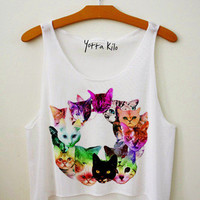 Floral Cats Hipster Crop Tank Top