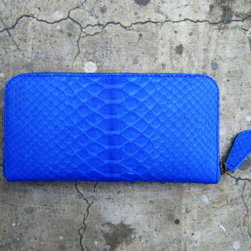 NEON - Blue Bi Fold Python Snakeskin Leather Zippered Wallet
