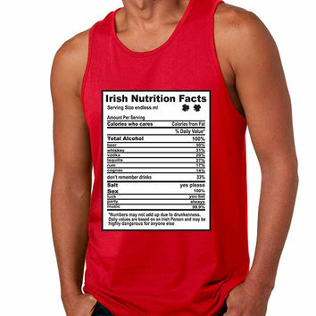 Irish nutrition facts St patrick men jersey tanktop