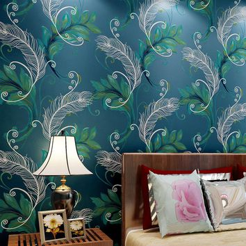Photo Wallpaper Papel Pintado Paysota 3d Non-woven Wallpaper Chinese Peacock Feathers Living Room Bedroom Background Wall Paper