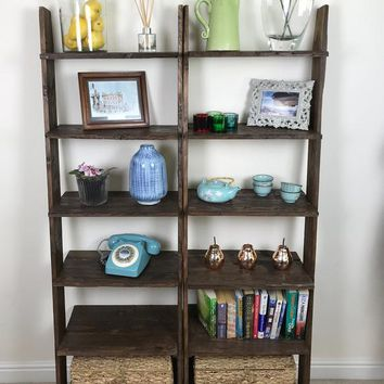 Walnut Ladder Shelf Shoe Rack 6 Shelf Bookcase, made from Reclaimed Pallet Wood