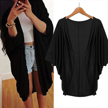 Solid Sleeve Loose Cardigan