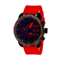 Red Black Geneva Watch Metal Oversized Case Mens Sport Rubber Band Designer