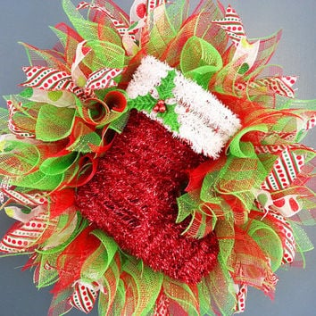 Christmas Red and Lime Green Deco Mesh Wreath with Tinsel Stocking