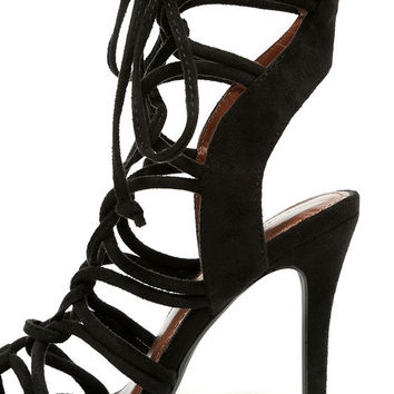 Sorry Not Sorry Black Lace-Up Heels