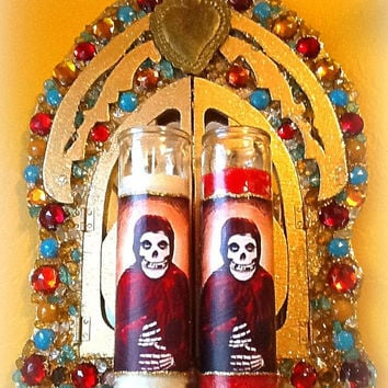 Crimson Ghost Prayer Candle, Patron Saint of The Misfits