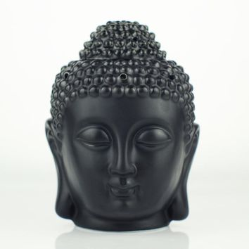 Ceramic Aromatherapy Oil Burner Buddha Head Aroma Essential Oil Diffuser Indian Incense Buddha Tibetan Incense Burner H