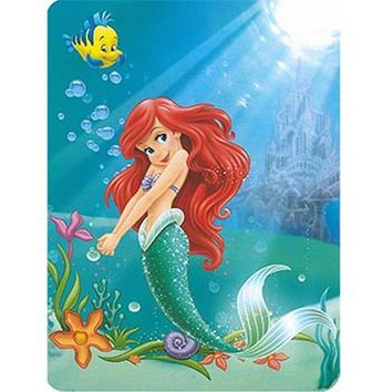 Disney Princess Ariel Life Under the Sea the Little Mermaid 60x80 Twin Mink Style Blanket