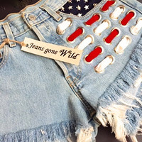 NEW! High waisted American flag denim shorts, American flag cut offs all sizes