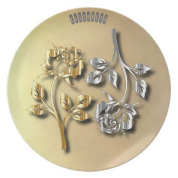 Two Golden And Silver Roses With Shadows Dinner Plate