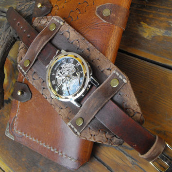 Mens skeleton watch, steampunk mens watch, cuff steampunk watch, men's steampunk cuff watch