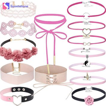 14 PCS/Set New Gothic Tattoo Leather Choker Necklaces Set Women Flower Hollow Out Lace Velvet Necklace Jewelry Chain Necklaces