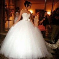 Bling Sleeveless Floor Length Long Ivory Bridal Wedding Dress with Bowknots