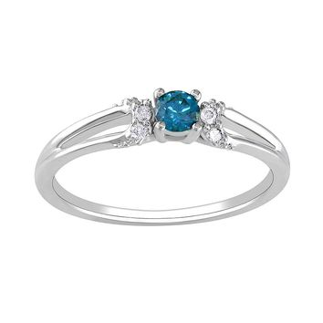 Round-Cut Blue & White Diamond Engagement Ring in 10k White Gold (1/5 ct. T.W.)