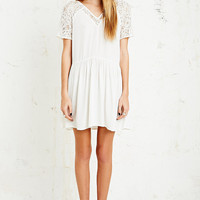Pins & Needles Lace Sleeve Babydoll Dress in White - Urban Outfitters