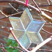 Frosty Glass Star Christmas Ornament, 3.5 Inch Iridized Clear Handmade