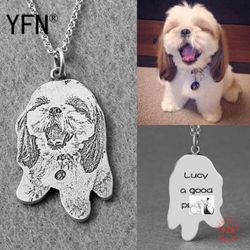 Doggy Photo Necklace Engraved Jewelry