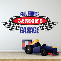 Personalized Garage Wall Decal, Boys Room Garage, Garage Name Decal, Boys Name Decal