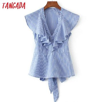 Tangada Summer Women Fashion Striped Ruffles Blouses Butterfly Sleeve Back Bow Tie Shirts 2017 Female Casual Blusas Cool Tops FF